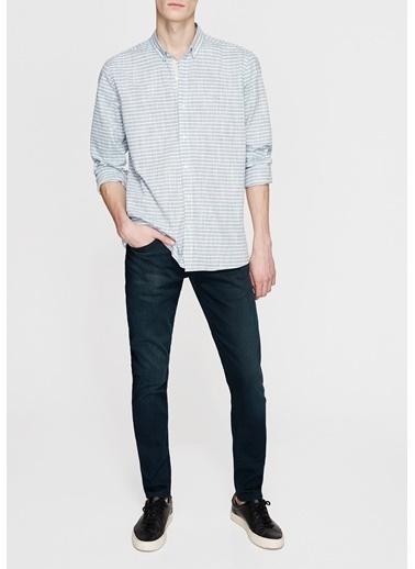Çizgili Uzun Kollu Gömlek-Mavi